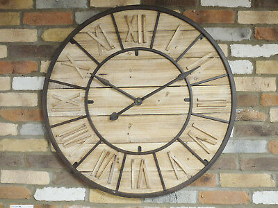 Large Vintage Wall Mounted Clock Metal Wood Brown 90cm Oversized Timepiece New