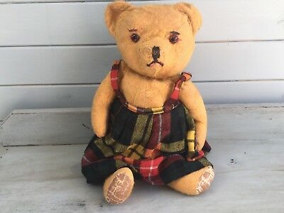 Nelly..cute Vintage British Character Teddy Bear-Much Loved & Worn-C.1950.