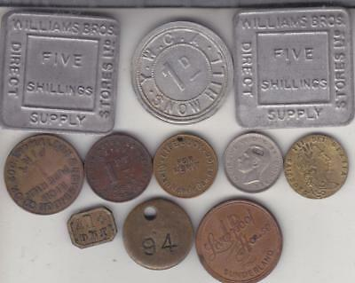 11 Old Uk Tokens, Co-Operative,advertising,coin Weight Etc   D4