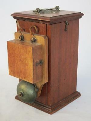 FINE VINTAGE SERVANT BUTLER MAHOGANY BELL BOX & PUSH SWITCH 1900 downton abbey a