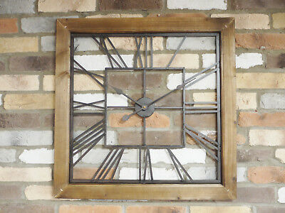 Large Square Clock Wall Mounted Glass Wooden 71cm Timepiece Roman Numerals New