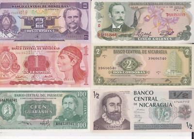 12 Different South & Central America Banknotes,honduras,paraguay & Others   D35