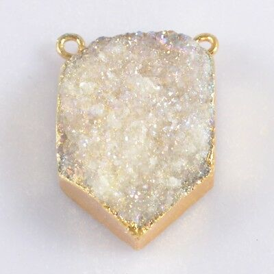 Natural Agate Druzy Titanium AB Connector Gold Plated T046977