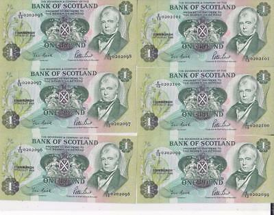 19/8/1988 10 Consecutive Numbers Scottish £1 Banknotes, Uncirculated   D55