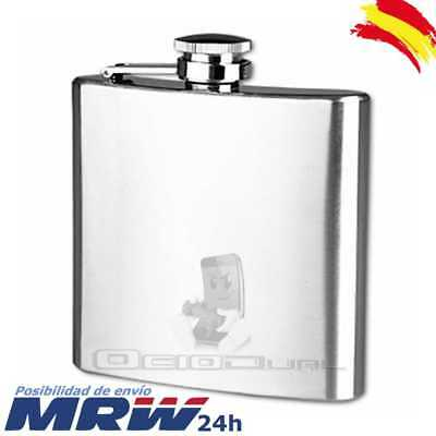Petaca acero inoxidable stainless 6 oz (177 ml)9.3x9.5cm tapon rosca hip flask