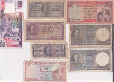 19 Different Ceylon & Sri Lanka Banknotes 1942-1995   D56