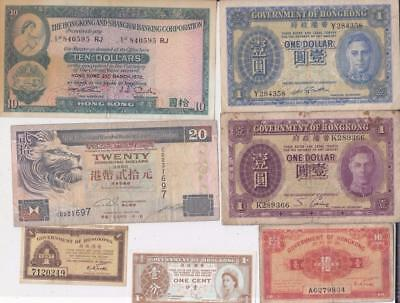 18 Different Hong Kong Banknotes  1911- 1994 D57