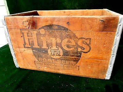 Hires Root Beer Wood Advertising Crate 17 1/2  x 11 1/2 x 11  Excellent Crate!