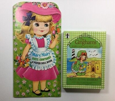 Lot of 2 Vintage Uncut Unused Ginghams Mary Quite Contrary Paper Dolls (bx1702)