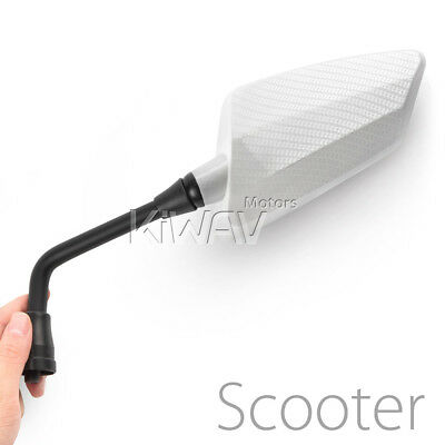 KiWAV Hawk white carbon motorcycle mirrors 8mm 1.25 pitch for custom scooter ε