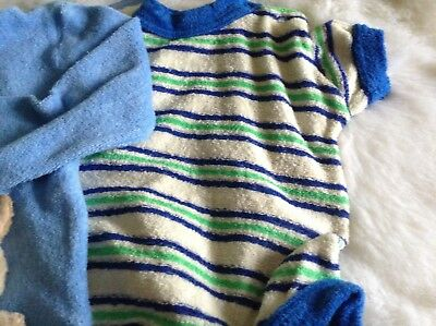 AUTHENTIC VINTAGE 1970s UNUSED BABY TWO CHILDRENS ROMPERS  0/3 months
