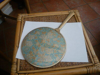 Rare Very Large Size Vintage 1950,s Vanity Hand Mirror Needlework Back Ornate
