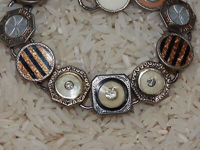 Art deco cufflink bracelet:  Striking Black with Cream and Golden celluloid