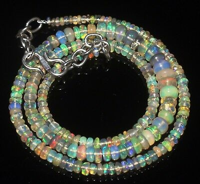 39 Ctw 2-5.5 Mm 16 Natural Genuine Ethiopian Welo Fire Opal Beads Necklace-R5750