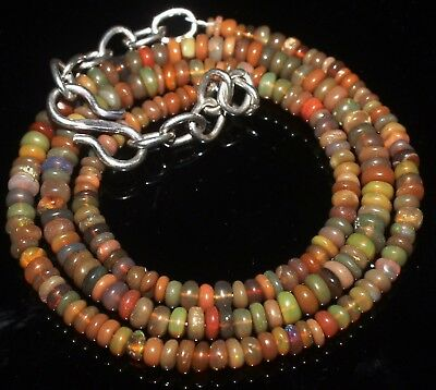 27 Ctw 2-4 Mm 15 Natural Genuine Ethiopian Welo Fire Opal Beads Necklace-R6331