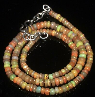 50 Ctw 3-5 Mm 16 Natural Genuine Ethiopian Welo Fire Opal Beads Necklace-R6334