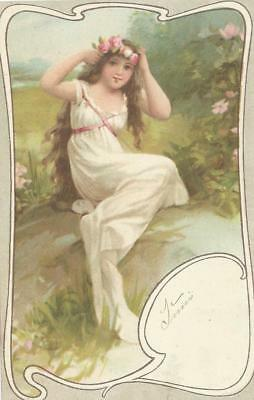 Frances Brundage.  Early. Girl with roses from Art Nouveau set