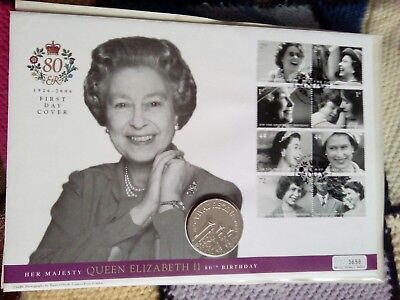 Large Coin Cover  Hm The Queen's 80Th Birthday Fdc £5 Pounds Coin 2006
