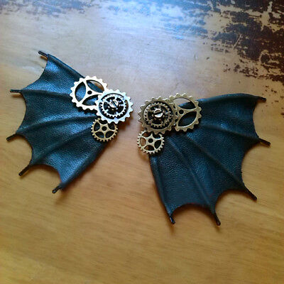 Halloween Costume Steampunk Gear Clip Devil's Wing Brooch Hair Accessories