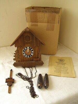 Black Forest Wooden Chalet Style Cuckoo Clock ~ Free UK Post