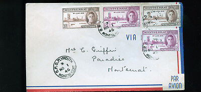 Vintage 1948 Airmail Cover from  Montserrat G.P.O. Plymouth  BL1299