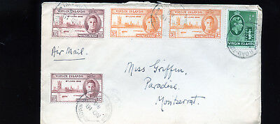 Vintage 1946 Airmail Cover Virgin Islands to  Montserrat G.P.O. Plymouth  BL1303
