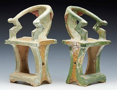 Pair Antique Chinese Ming Earthenware Tomb Chairs 1368-1644
