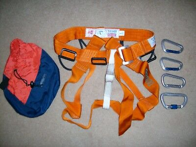 Vintage, Climbing, Troll, Whillans Sit Harness, Excellent Condition,with 4 Crabs