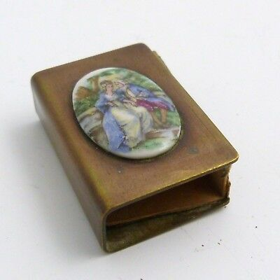 19th CENTURY MINIATURE COPPER MATCHBOX HOLDER WITH DECORATED PORCELAIN PLAQUE