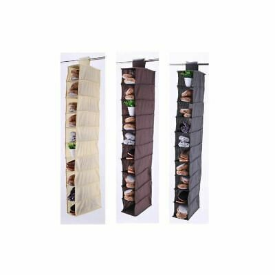 Vinsani 10 Section Hanging Clothes Organiser Shoe Storage Stand Organiser