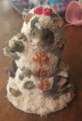 """Charming Tails F & F """"A Snowy Trio"""" Mouse Rabbit Raccoon Figurine"""