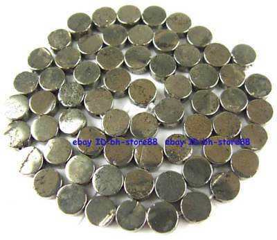 100% Natural 3x6mm Round Flat Pyrite Loose Beads 15''