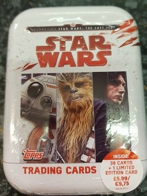 Topps Star Wars Journey To The Last Jedi Trading Cards Tin 39 Cards +1 Limited