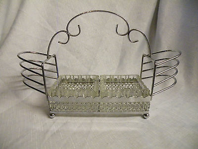 Vintage Silver Coloured 6 Slot Toast Rack With Glass Jam & Butter Dishes