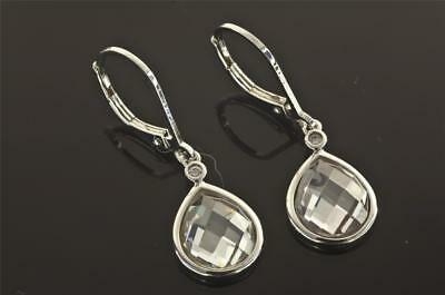 A PAIR OF SOLID STERLING SILVER DIAMONIQUE DROP EARRINGS, LENGTH 30 mm