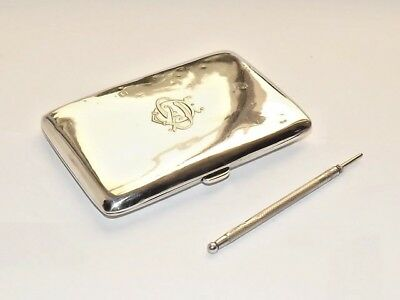 Antique Edwardian Hm Solid Silver Sterling Aide Memoire/ Card Case B/ham 1912