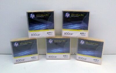 Job Lot Of 5 x New And Sealed HP LTO-3 Ultrium 800GB RW Data Tapes - C7973A