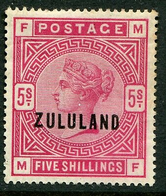 Zululand 1888-93 on GB 5/- SG 11 hinged mint (cat. £700) light crease