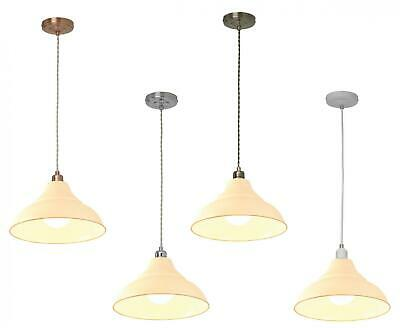 Metal Ceiling Light Fitting Cream Lampshade with Fabric Cord Suspension Pendant