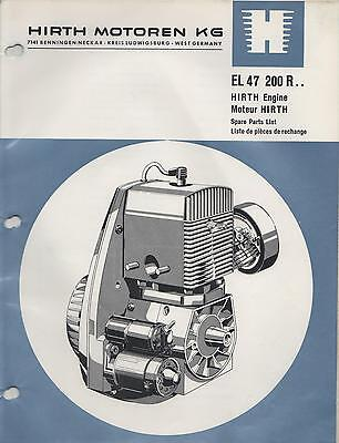 Hirth El 47 Snowmobile & Vehicle Engine Model 200 R Spare Parts Manual (653)