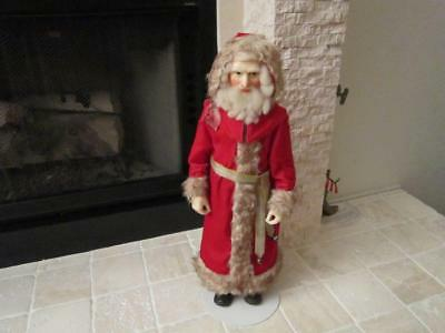 """Rare 26"""" Niada Wax Father Christmas Doll By Lewis Sorenson Includes Stand"""
