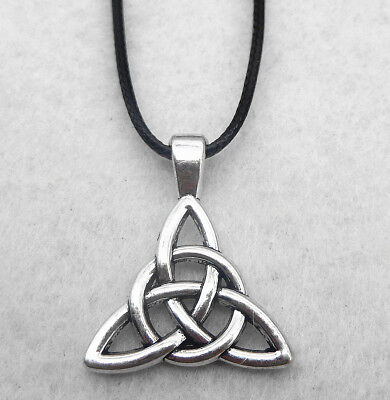 Antique Silver Celtic Triquetra Triangle Trinity Knot Small Pendant Necklace 18""