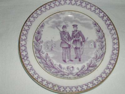 """Antique """"british Rifle Volunteers"""" Small Plate ~Perfect~Nursery Plate?"""