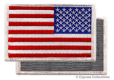 AMERICAN FLAG BIKER PATCH WHITE LEFT embroidered USA w/ VELCRO® Brand Fastener