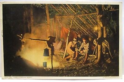 "1910 Detroit Publishing Co Postcard # 125216  "" Camp Fires At Night "" Campers"