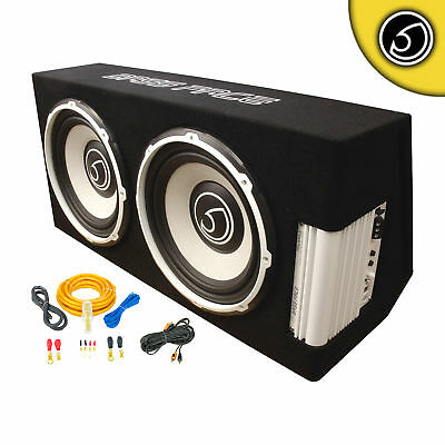 """Bassface POWER12.2 2600w Twin 12"""" Active Sub Amplifier Bass Box With Wiring Kit"""