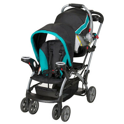 Baby Trend Sit and Stand Platform Infant Toddler Double Ultra Stroller, Lagoon