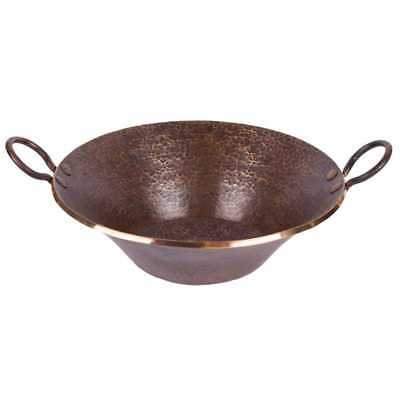 Premier Copper Products Round Hand Forged Old World Miners Pan Copper Vessel