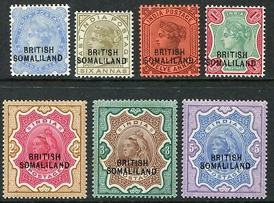 Somaliland QV 1903 (1 Sept.) overprinted on India 2½a-5r SG 18-24 hm (cat. £400)