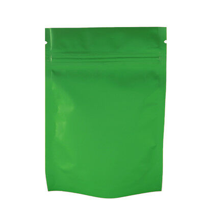 Smell Free Strong Ziplock Grip Seal Bags Stand-Up Pouch Green- 8.5x13CM